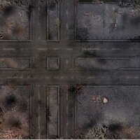 Playmats.eu - Ruined Streets rubber Play Mat - 36x36 inches