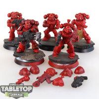 Blood Angels - 5 taktische Space Marines - teilweise bemalt