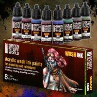 Set x8 Acrylic Wash Ink Paints